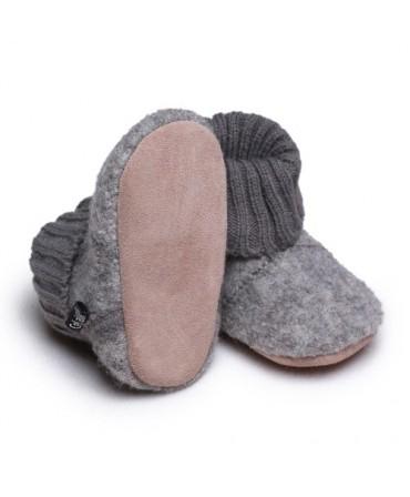 Botoșei din lână merinos organică boiled cu bandă tricotată, Grey Melange, CeLaVi