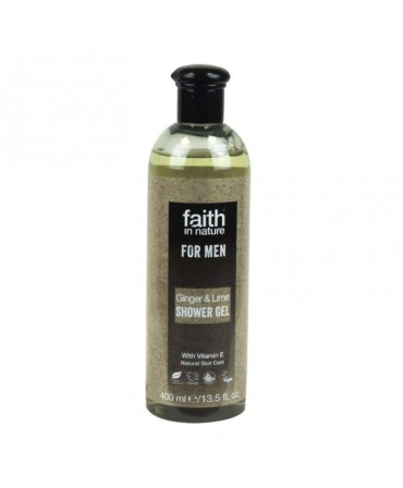 Gel de Dus cu Ghimbir şi Lime, Pentru Bărbaţi, 400 ml, Faith in Nature