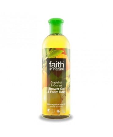 Gel de Dus şi Spumă de Baie cu Grapefruit şi Portocală, 400 ml, Faith in Nature