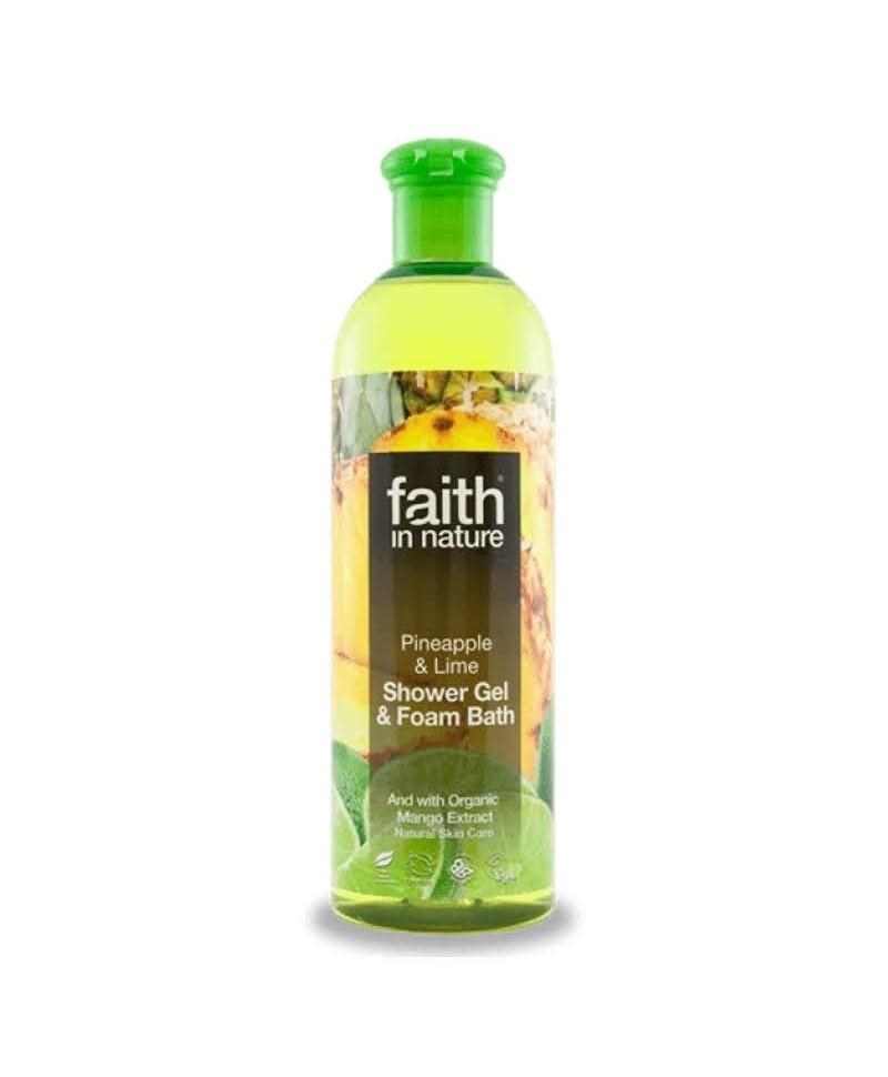 Gel de Dus şi Spumă de Baie cu Ananas şi Lime, 400 ml, Faith in Nature