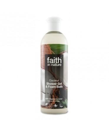 Gel de Duş şi Spumă de Baie cu Cocos, 400 ml, Faith in Nature