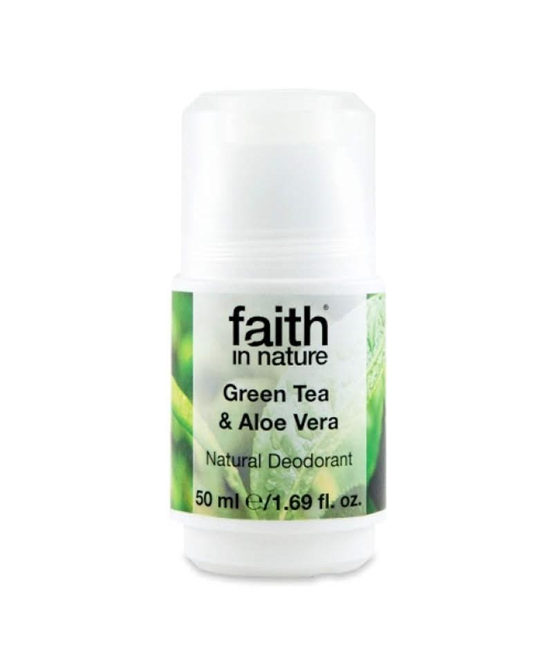 Deodorant Roll On Natural cu Ceai Verde și Aloe Vera, 50 ml, Faith in Nature