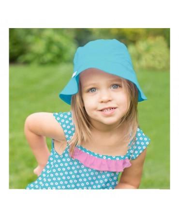 Pălărie de Soare Pentru Copii SPF 50+, Reversibilă, Aqua/Light Aqua, iPlay fetita
