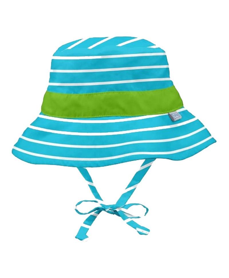 Pălărie de Soare Pentru Copii SPF 50+, Reversibilă, Aqua Green Stripe, iPlay