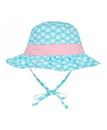 Pălărie de Soare Pentru Copii SPF 50+, Reversibilă, Aqua Daisy, iPlay