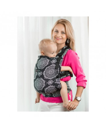Marsupiu ISARA Kaleidoscopix Black Denim, Full Wrap Conversion, Toddler