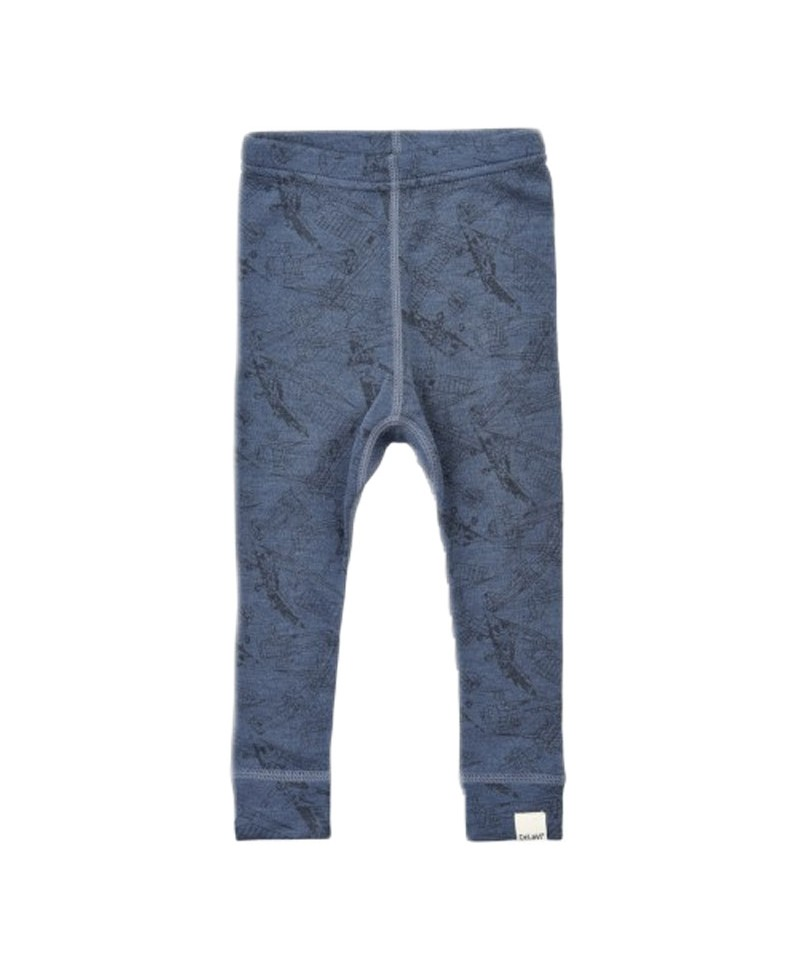 Pantaloni din Lana Merinos, Albastru cu Avioane, Celavi